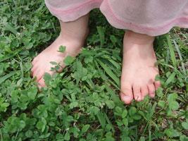 草地を裸足で歩く